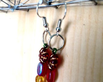 Hand beaded glass and serpentine earrings