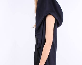 Hooded Wool Coat / Wrap Wool Coat / Loose Coat / Unisex / Plus Sizes / Wrap Coat