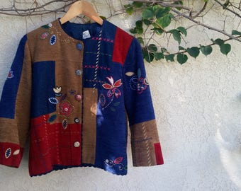 Vintage, Patched and Embroidered Jacket