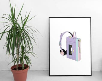 Retro Sony Walkman Art Print, 80s Retro Poster, Minimalist Poster, Pastel Print, Cassette Player Print, Vintage Print, Printable