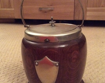Walnut & Silver Plated Biscuit Tin - 1945-1950