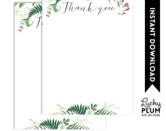Wildflower Thank You Note Card / Wild Flower Thank You Note Card / Woodland Thank You Note Card / Floral Botanical / Digital Printable WF01