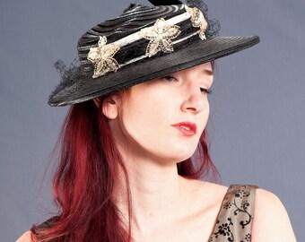Vintage 1940's Horsehair Crinoline Hat, Black Wide BRIMMED Hat, Retro VICTORIAN Style