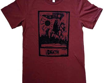 Death Tarot Card T-Shirt - Cranberry Mens Shirt - (Available in sizes S, M, L, XL)