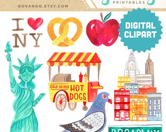 NEW YORK CITY Digital Clipart Instant Download Illustration Big Apple Pigeon Statue of Liberty nyc Broadway Downtown Manhattan Clip Art