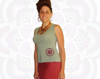 Organic Cotton and Bamboo Tank Shirt with Sacred Geometry Print - Organic clothing - Sacred Geometry Clothing - Handmade and dyed