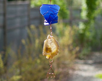 Wind Chimes Oyster Shell Cobalt Blue Sea Glass beach glass stained glass windchime suncatcher
