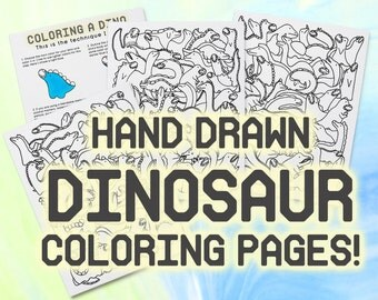 Cute Dinosaur Coloring Printable Pages, Hand Drawn Kids Colouring Page, Color Meditation Sheets, Kid Book, PDF Instant Download