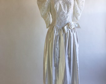 1980s White Acetate and Lace Tea Length Wedding Dress