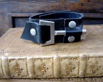 XL Black Leather Cuff with Modern Silver Vintage Key - Black Steampunk Leather Cuff Bracelet - Large to Extra Large