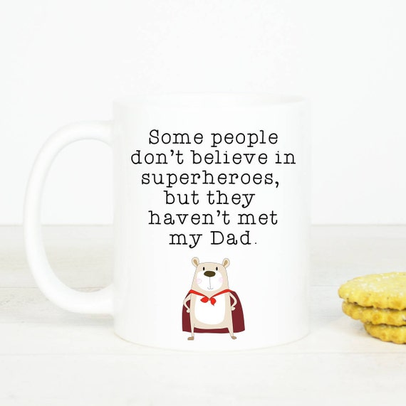 Superhero Dad mug, Personalised back, great mug for Dad, gift mug for Dad birthday