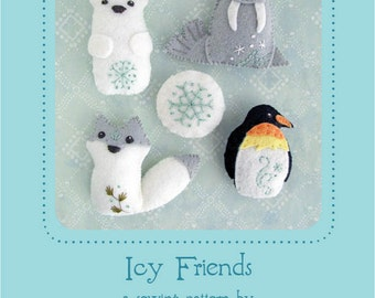 Mini Felt Icy Friends plush Set 4 PDF sewing pattern felt animal patterns ornaments