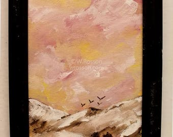 Birds flying over mountains, Rescue, Frame, Original Art, Original Painting, Office, Home Decor, Wall Art, Recycled, Bird Painting, Winjimir
