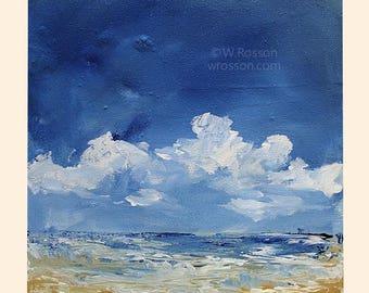 Beach Painting, Ocean, Sea Shore, Clouds, Beach House, Art, Home Decor, Office Art, Gift, Winjimir, 9x9x2, Square Painting, Summer, Beach,
