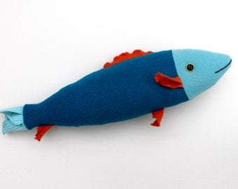 Aqua and orange bright wool fish throw pillow doll