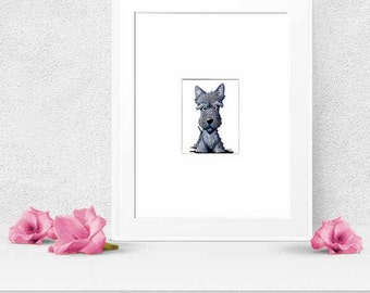Scottie Dog Art Original Drawing ACEO Terrier Matted 8x10