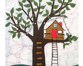 NEW // Treehouse Map Print // Modern Kid Room // Tree Fort Art // Modern Nursery // Rachel Austin Art 11x14
