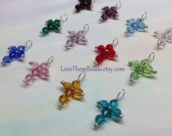 Birthstone cross pendants by LoveThemBeads, Garnet, Amethyst, Aquamarine, Emerald, Ruby, Peridot, Sapphire, Pink, Topaz, Blue Zircon