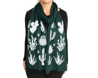 Forest Green Long Jersey Scarf with Cactus Screenprint