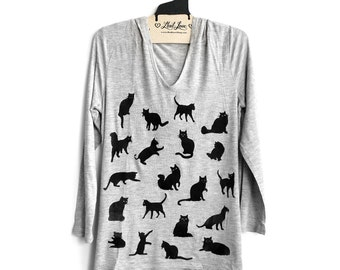 M or L Heather Gray Soft Thin Hoodie Tunic Top with Cats Screen print