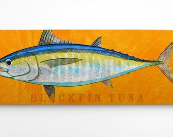 Fish Gifts for Him- Blackfin Tuna Art Block- Wife to Husband Gift- Saltwater Fish Art- Art on Wood- Gifts- for Dad Gifts from Daughter