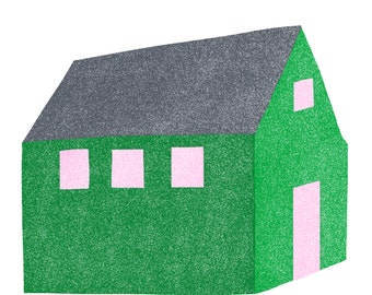 Green House, Pink Windows: Modern Minimalist Art Print - Home