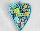 Heart Wall Hanging - Wall Decor - Mosaic - Wall Art - Mosaic Wall Hanging - Mixed Media Art