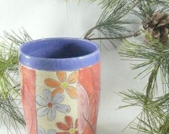 Ceramic teacup - wine tumbler with owl pen cup, teacup, flower vase, pencil holder and toothbrush holder, desk caddy, bathroom set 632