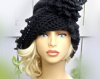 Lauren Hat, Haute Crochet Hat, Steampunk Couture, Black 1920s Cloche Hat, Black Crochet Hat, Black Hat, Flapper Hat, Crochet Flower