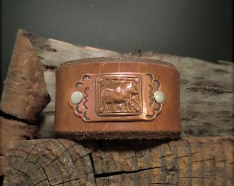 "B1544  ""Strength"" of a Bull Badge Leather Cuff"