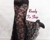 La Rose Gothique Black Lace Mermaid Skirt - Ready to Ship