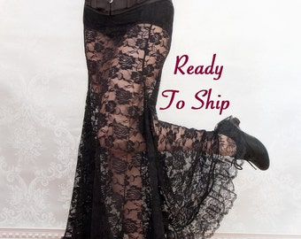 La Rose Gothique Black Lace Mermaid Skirt - Ready to Ship