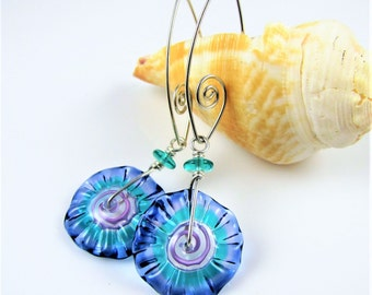 Spring Disc and Swirl Wire Earrings
