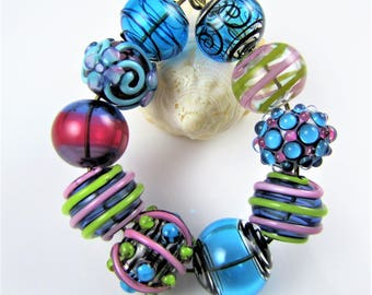 SALE- Pink and Blue Hollow Glass Bead Set