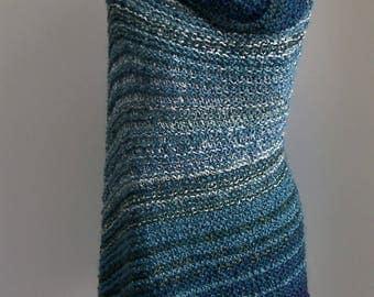 Custom Made Hand Knit Deep Ocean Shawl Wrap, Stylish Comfort Prayer Meditation, Lap Blanket, Throw, Full Rectangle, Bluegreen, FREE Shipping