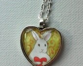 Bunny Holding a Red Heart - Romantic Heart Shaped Rabbit Pendant