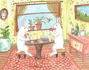 Original Art - Playing Cards - Watercolor Rabbit Painting
