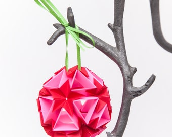 Flower Ball Origami Ornament, Hanging Home Decor, Paper Ornaments, Christmas Tree Decoration, Paper Christmas Tree Ornaments, Red + Pink