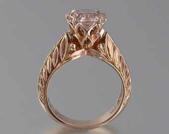 EDELWEISS 14K rose gold engagement ring with Morganite and diamonds