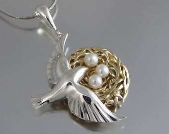 BIRD NEST 14k gold and silver pendant with pearls - Ready to ship