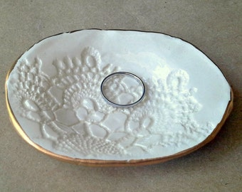 Ceramic Lace Ring Bowl Off White with gold edging  4 inches long