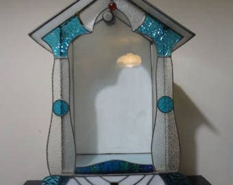 Vintage Light Up Stained Glass Altar Shrine Curio Religious Decor