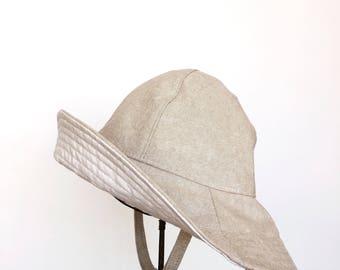 Baby Wide Brim Floppy Sun Hat in Beige Cotton Chambray