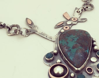 Chrysocolla flower pendant,necklace,floral,silver,copper,meatlwaork,sterling,handcrafted,handmade,one of a kind, turquoise, party,maxi dress