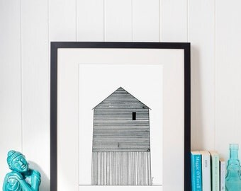 Abstract House Illustration Print House #2 Black and White Contemporary Art Print of Original Sketch from House Series