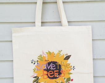 Canvas tote bag save the bees hand drawn typography honey bee illustration