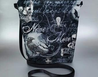 Nevermore - Raven - Small - Cross Body Tote - Lightweight - Black - Gothic - Blue - Skull - Dark - Zippered bag - Tote bag - Spooky - Spider