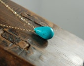 KATE Single Stone Gold Necklace with Turquoise Stone