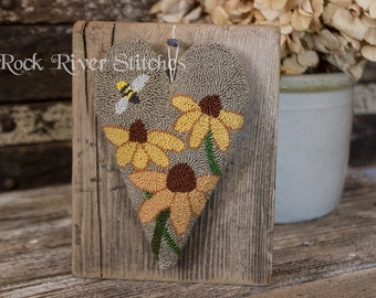 Primitive Cone Flowers, Punch Needle Heart Wall Hanging, Reclaimed Wood, Shelf Sitter