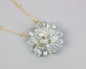 Aquamarine Bloom Necklace. Gift for Her.